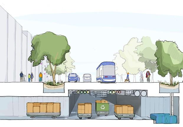 No projeto do Sidewalk Labs, serviços de entrega e coleta de lixo são feitos por carros autônomos, por túneis no subsolo (Foto: Reprodução/Sidewalk Labs)