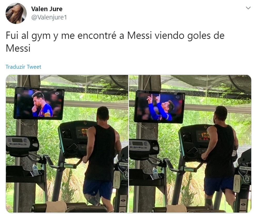 Messi assiste aos gols de Messi na academia em Rosário, na Argentina — Foto: Reprodução/@Valenjure1