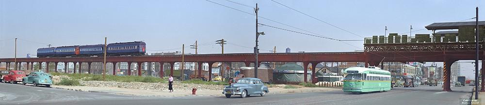 Foto de Chicago colorizada a partir de um original de 1952 do fotógrafo americano Carl Edward Hedstrom Jr. (Foto: COLORIZADAS POR MARINA AMARAL)