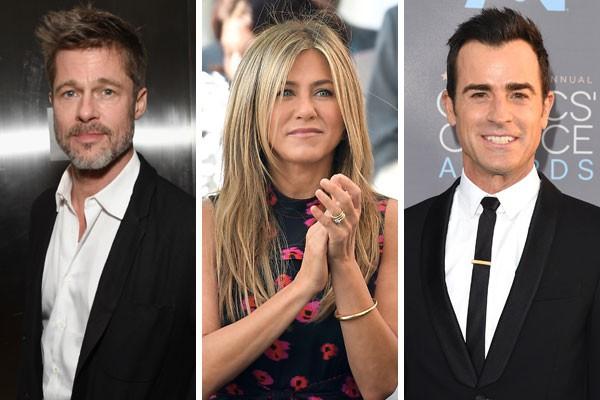 Brad Pitt, Jennifer Aniston e Jason Theroux (Foto: Getty Images)