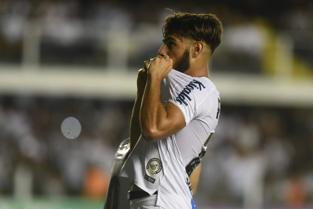 Yuri Alberto após marcar em Santos x Mirassol — Foto: Ivan Storti/Santos FC