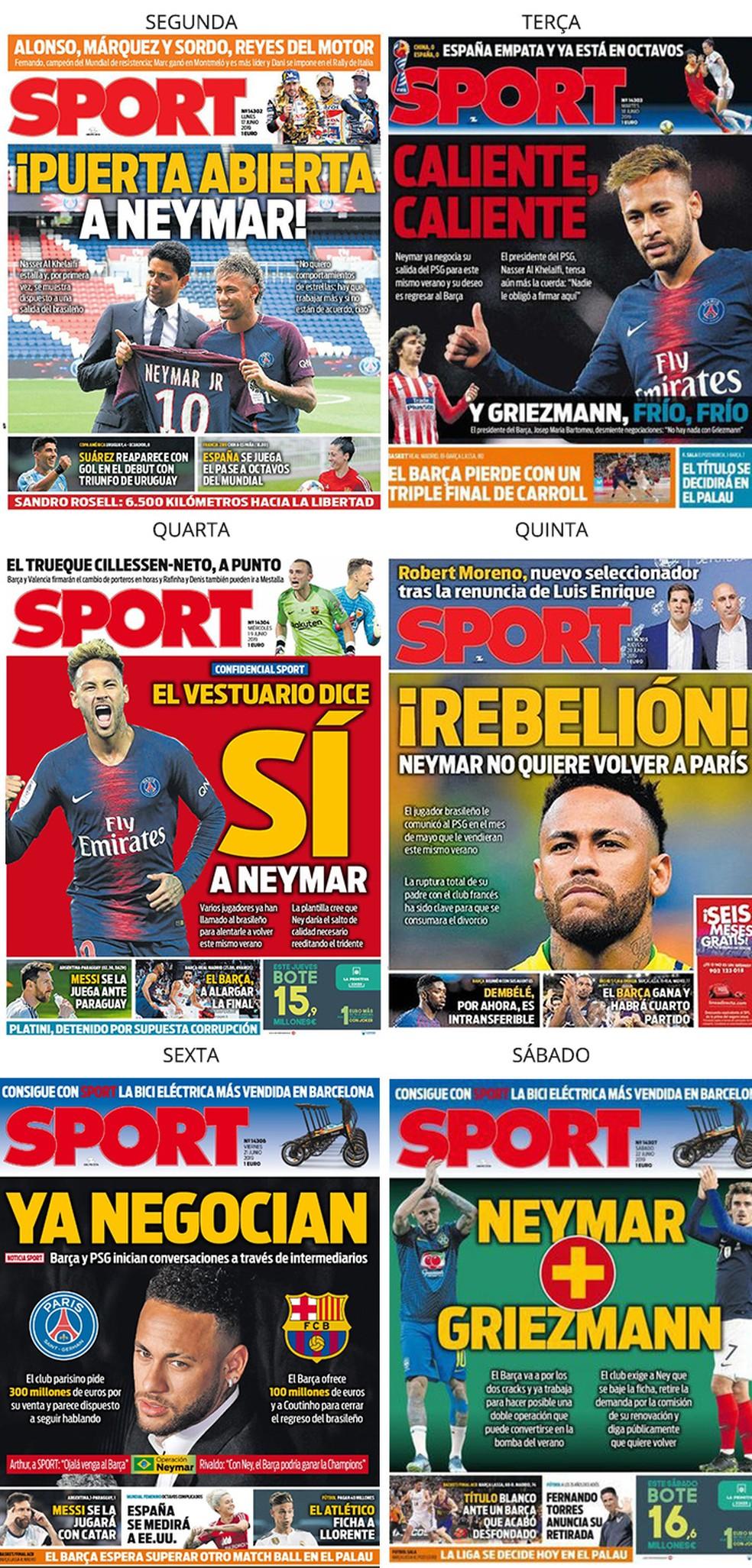 """Semana Neymar no jornal """"Sport"""" — Foto: Reprodução / Sport"""
