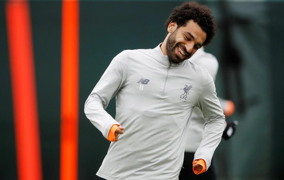 Rindo à toa: Salah vive grande fase no Liverpool (Foto: Reuters)