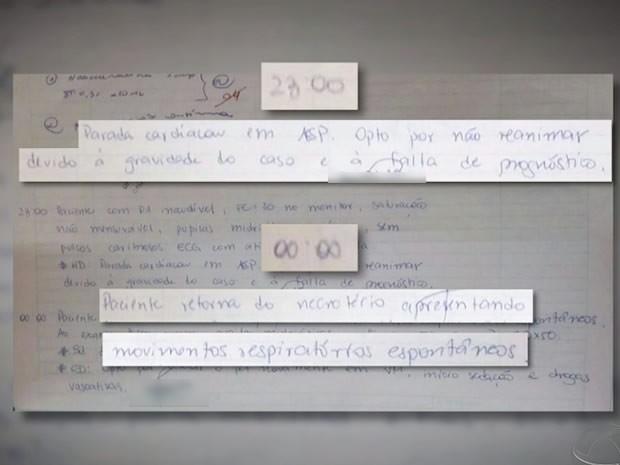 Relatório escrito à mão pela médica que atendeu o paciente descreve a morte de Vitalino. (Foto: Reprodução/TVCA)