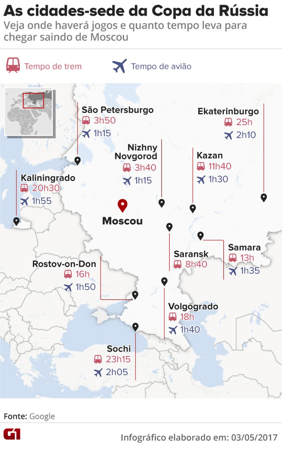 Mapa das cidades-sede da Copa do Mundo da Rússia 2018 (Foto: Editoria de arte/G1)