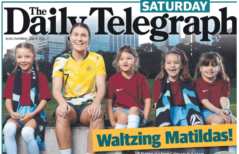Vitória como sede ocupa a primeira página de jornal australiano The Daily Telegraph — Foto: reprodução