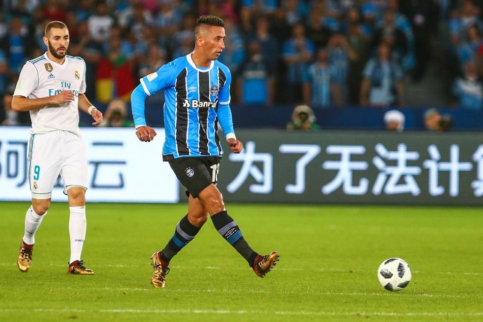 Barrios deixou o Grêmio após a derrota para o Real Madrid no Mundial — Foto: Lucas Uebel/Divulgação Grêmio