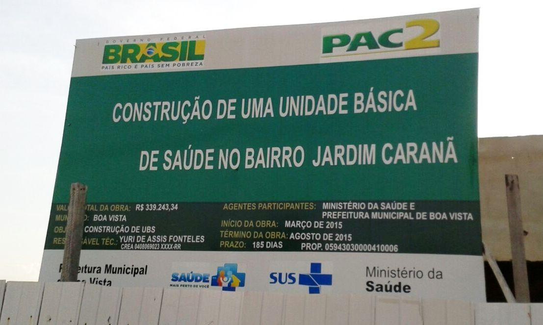 Obras paradas de postos de saúde em Boa Vista geram queixa de internauta