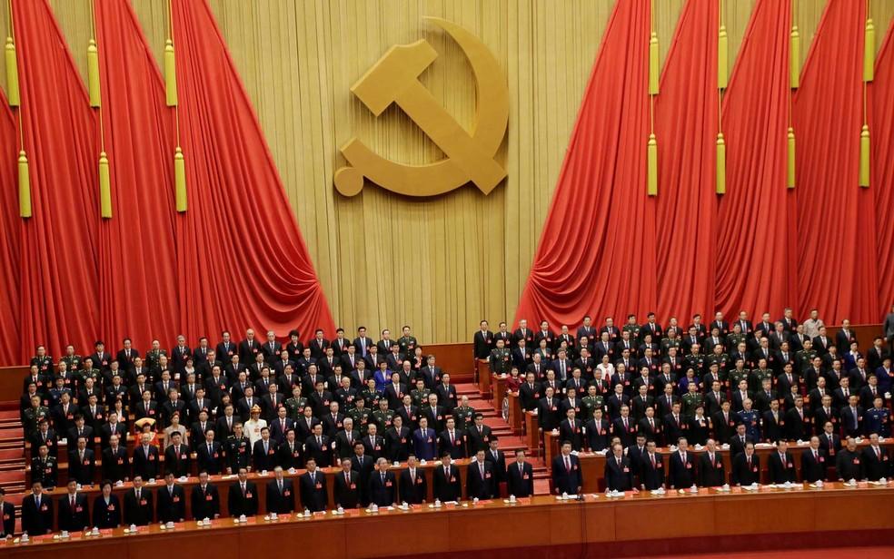 A cerimônia de encerramento do 19º Congresso do Partido Comunista da China (PCCh) no Grande Salão do Povo, em Pequim (Foto: Jason Lee / Reuters)