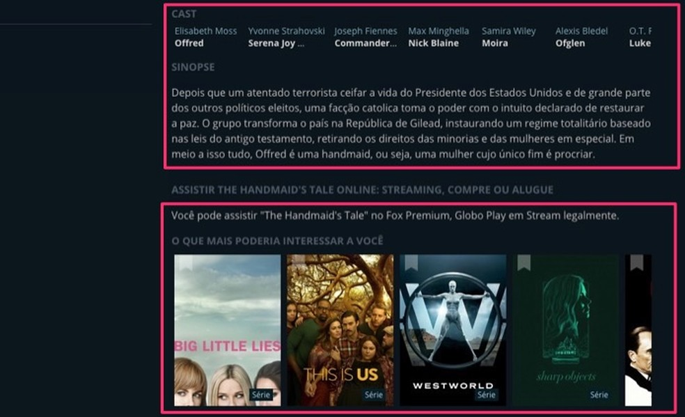 Informações extras e conteúdos relacionados a um filme ou série encontrado no serviço online JustWatch — Foto: Reprodução/Marvin Costa