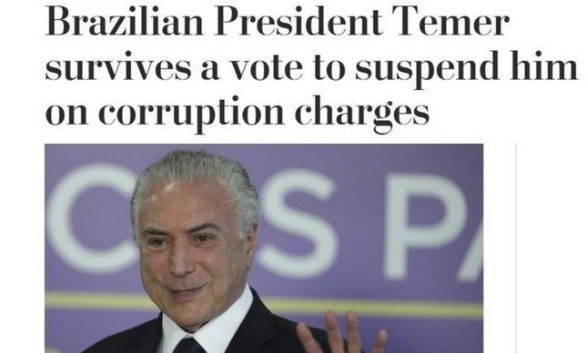 Reportagem do jornal Washington Post, dos Estados Unidos, sobre a votação de denúncia contra o presidente Michel Temer