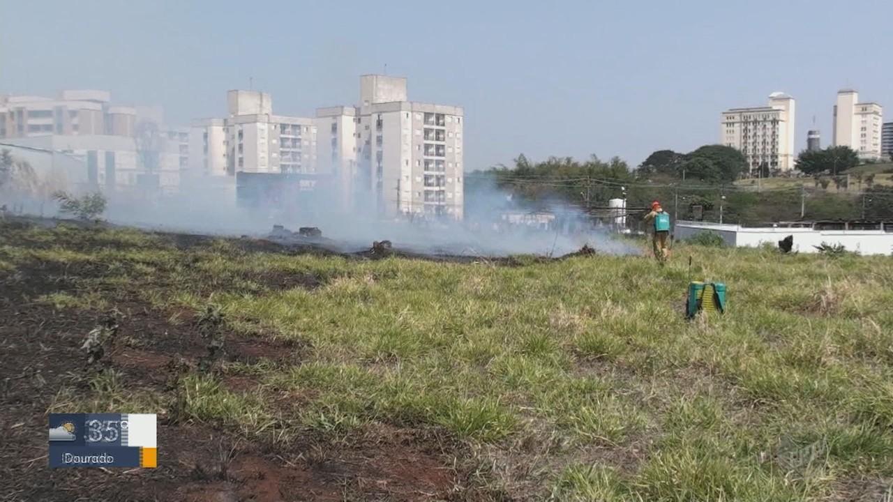 Fogo consome vegetação em terreno de São Carlos