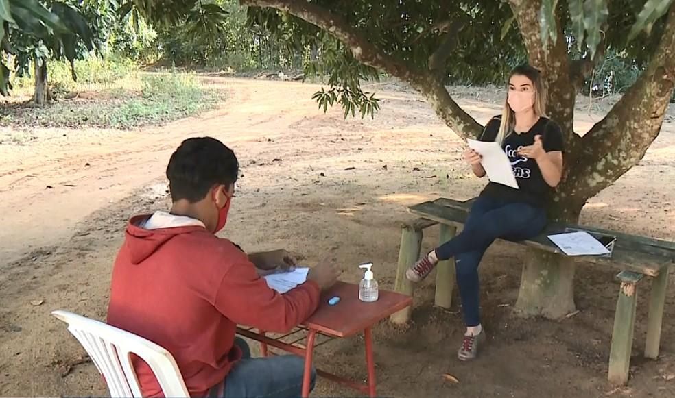Professora dá aula a aluno surdo debaixo de mangueira, no ES — Foto: Reprodução/ TV Gazeta