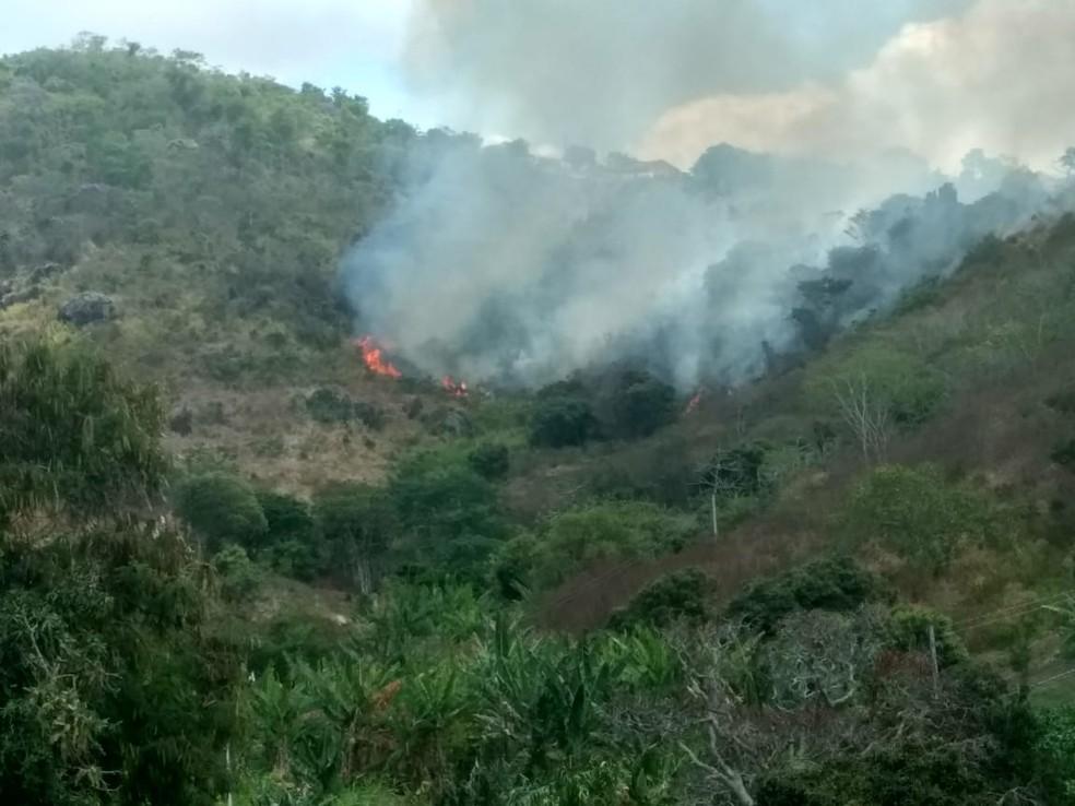 Incêndio na manhã deste domingo (11) na reserva de Serra dos Cavalos, em Caruaru — Foto: Magno Wendel/TV Asa Branca