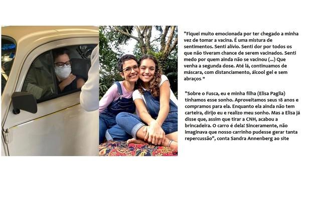 Sandra Annenberg chamou a atenção esta semana ao ir se vacinar dirigindo um Fusca. Ela conta a história do carro (Foto: Reprodução)