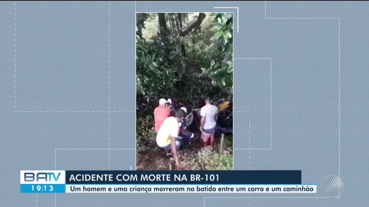 Duas pessoas morrem e três ficam feridas em acidente na BR-101, perto de Uruçuca