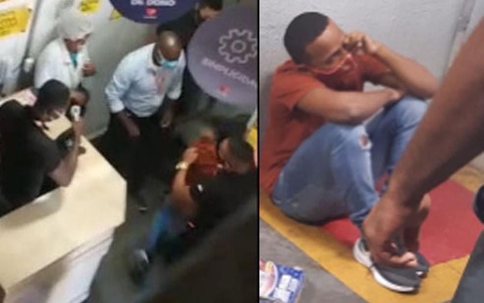 Vídeo flagra segurança de mercado agredindo jovem — Foto: Montagem G1