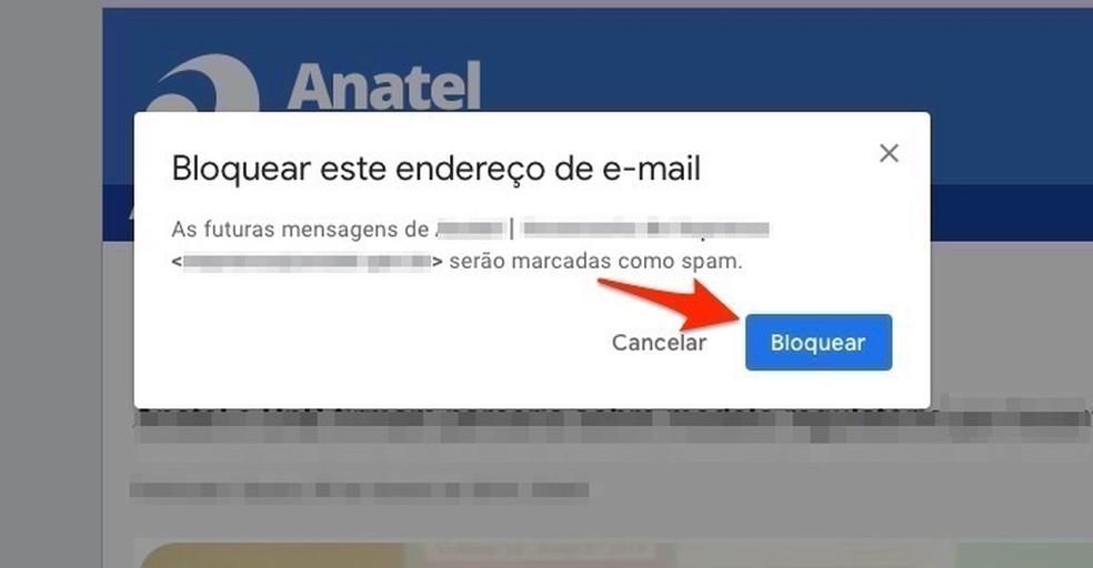 Ação para bloquear um remetente de e-mail no Gmail — Foto: Reprodução/Marvin Costa