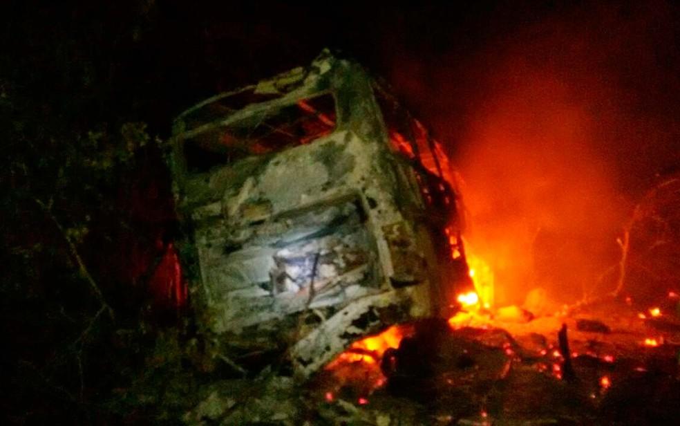 Ônibus pega fogo após batida com carreta na BR-116, na Bahia (Foto: Site Bahia 10)