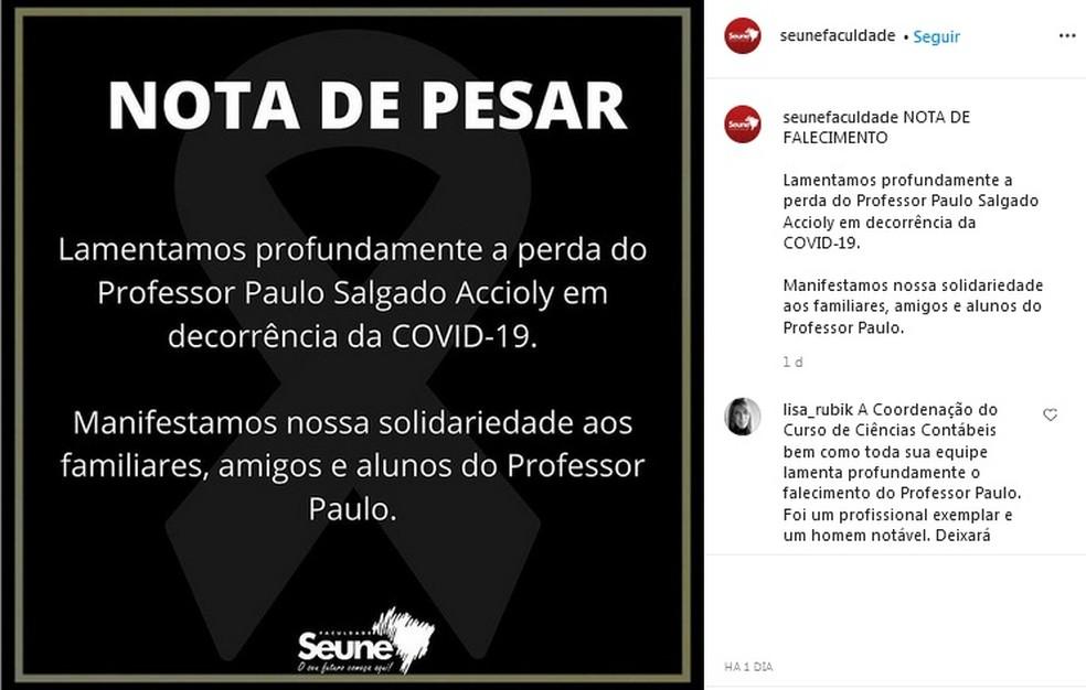 Seune divulga nota de pesar sobre o falecimento do professor Paulo Accioly, que morreu de Covid-19 em Maceió — Foto: Reprodução/Instagram