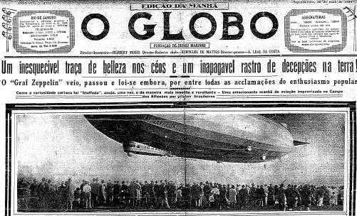 Primeira página do GLOBO de 26 de maio de 1930
