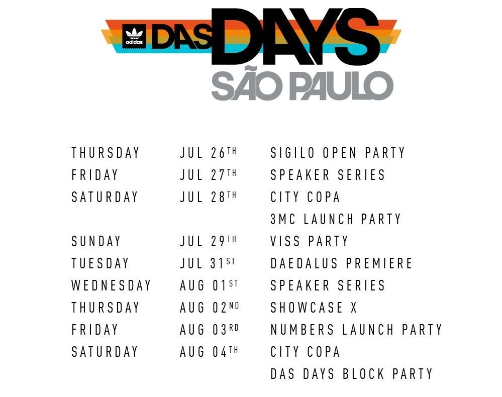 A programação do adidas Das Days em São Paulo (Foto: Divulgação)