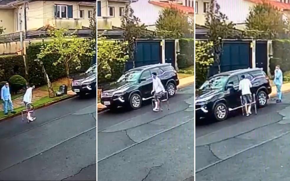 Homem usando andador e gesso é suspeito de furtar caminhonete com comparsa em Ribeirão Preto, SP  — Foto: Reprodução/Câmeras de segurança