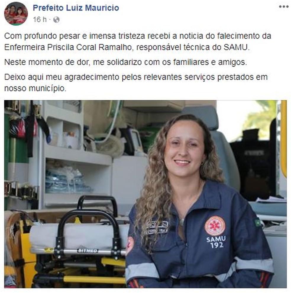 Prefeito da cidade presta solidariedade através de redes sociais (Foto: Reprodução/Facebook)