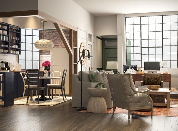 O apartamento foi atualizado para cores mais neutras (Foto: Modsy / Divulgação)