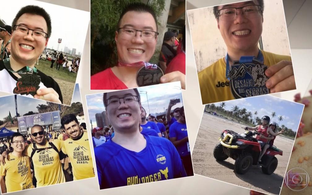 Mauricio Suzuki, 26 anos, morreu no sábado (28) em São Paulo com coronavírus e tinha como paixão correr curtas distâncias e maratonas — Foto: Reprodução/TV Globo