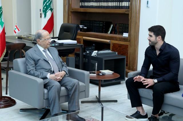 Juliano Laham e o presidente do Líbano, Michel Aoun (Foto: Arquivo pessoal)