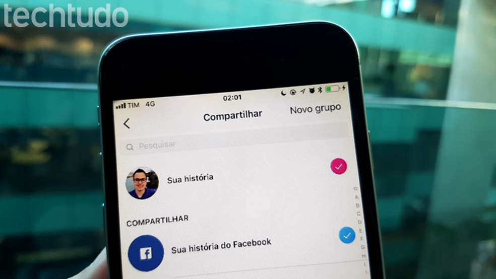 Opção para compartilhar Stories do Instagram nas histórias do Facebook (Foto: Gabrielle Lancellotti/TechTudo)