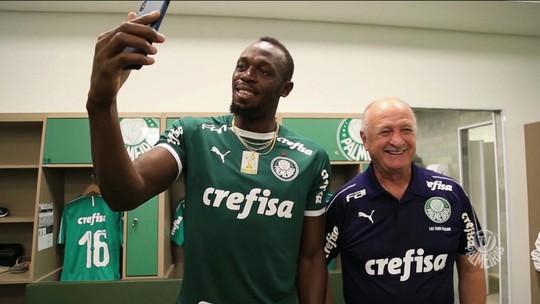 Usain Bolt visita CT do Palmeiras e inspira jogadores antes de duelo decisivo contra o São Paulo