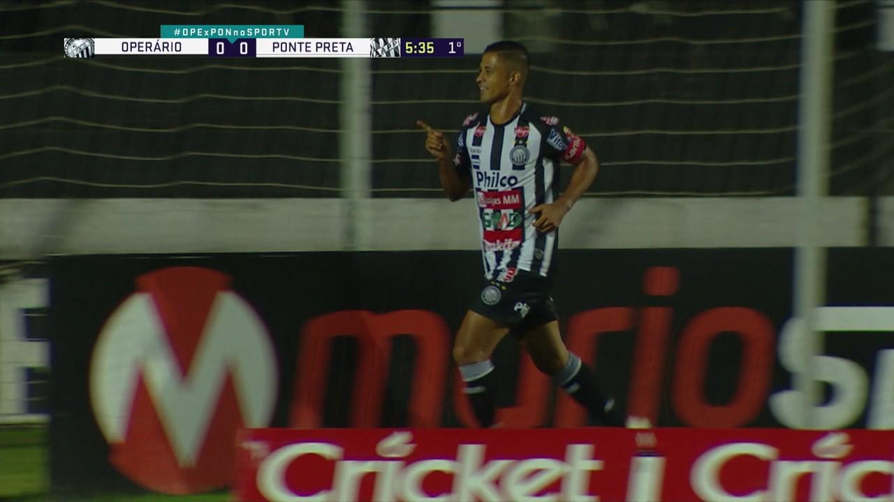 Gol do Operário-PR! Ricardo Bueno pega o rebote e marca sobre a Ponte Preta