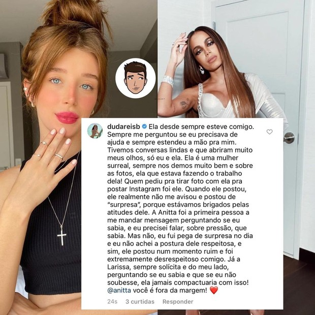 Duda Reis elogia Anitta em meio a polêmicas com nego do Borel (Foto: Reprodução/Instagram/Garotx do Blog)