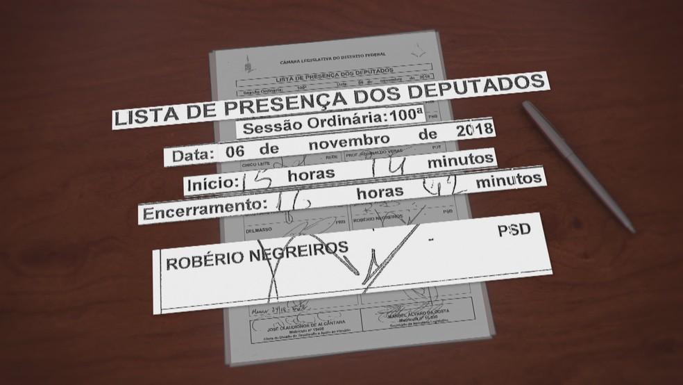 Deputado distrital Robério Negreiros 'assina' presença na CLDF enquanto viaja para fora do país — Foto: TV Globo/Reprodução