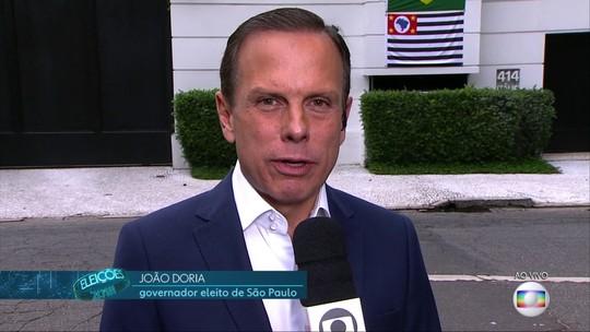 'Não vou tratar a população que não votou em mim como inimiga', diz Doria, governador eleito de SP