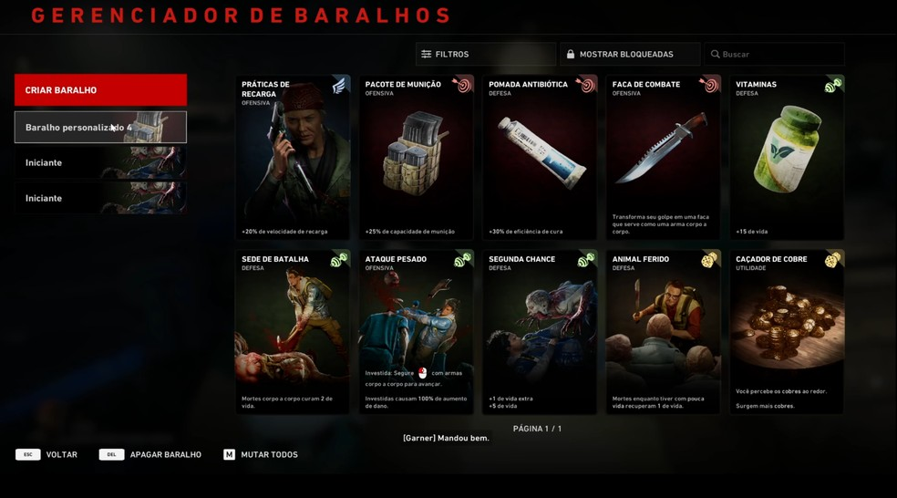 A gameplay do jogo é baseada nas cartas escolhidas pelo usuário — Foto: Reprodução/Lucas Soares