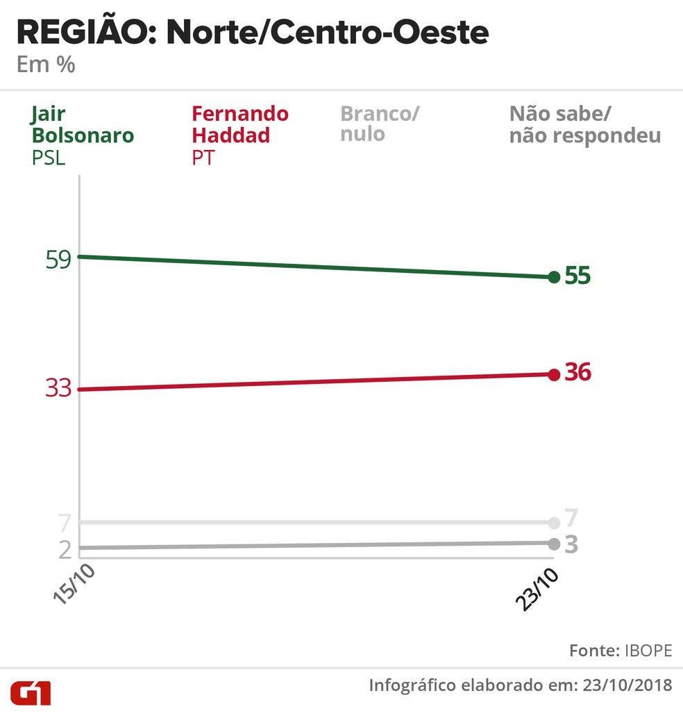 Pesquisa Ibope - 23 de outubro - intenção de voto por segmentos - região: Norte/Centro-Oeste — Foto: Arte/G1