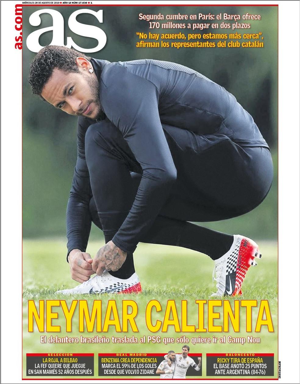 Capa do As sobre Neymar, Barcelona e Paris Saint-Germain — Foto: Divulgação
