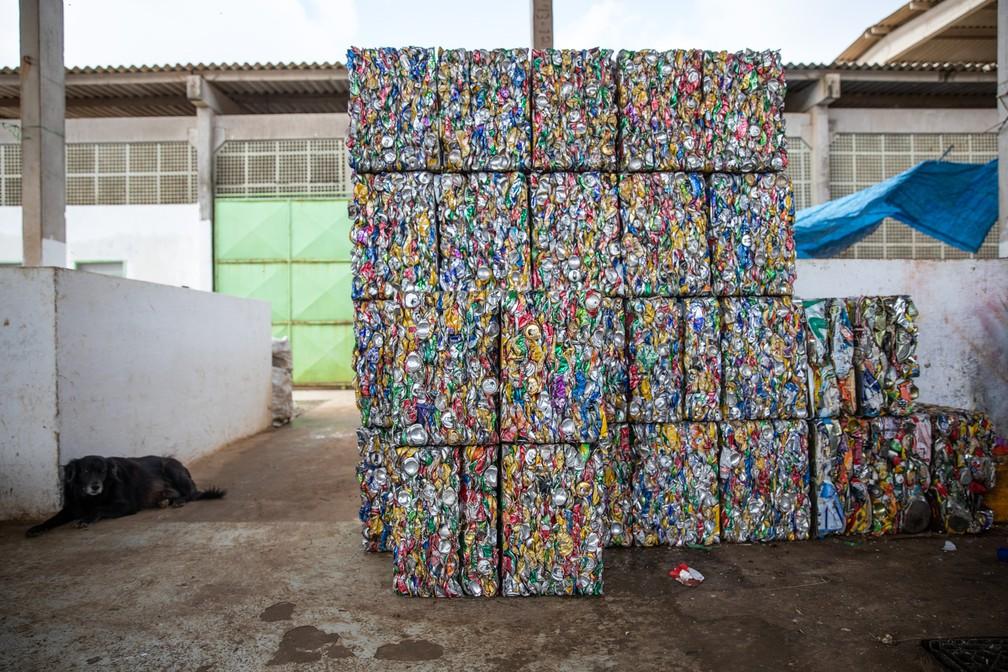 Latas de alumínio prensadas aguardam para serem levados para o continente na usina de resíduos de Fernando de Noronha — Foto: Fábio Tito/G1