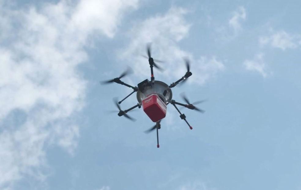 Drone usado durante teste do iFood — Foto: André Alves e Eduardo Yamanaka / Nectar Audiovisual