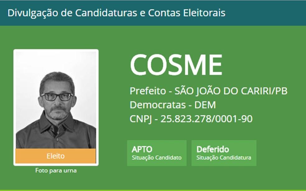 Cosme Gonçalves de Farias foi eleito prefeito da cidade de São João do Cariri em 2016 — Foto: Divulgação/TSE