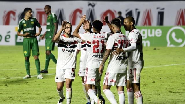 São Paulo x Cuiabá: comemoração do segundo gol tricolor
