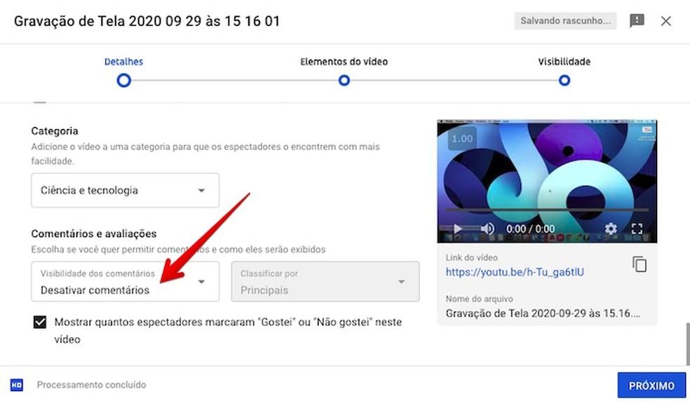 Desativando comentários em novos vídeos do Youtube — Foto: Reprodução/Helito Beggiora