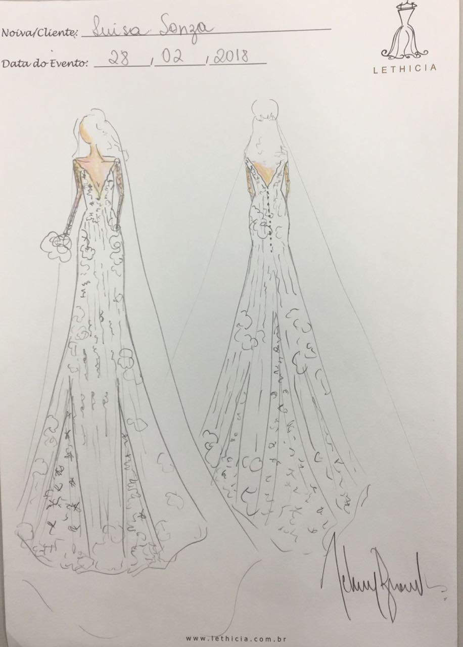 Croqui do vestido de Luisa (Foto: Divulgação)