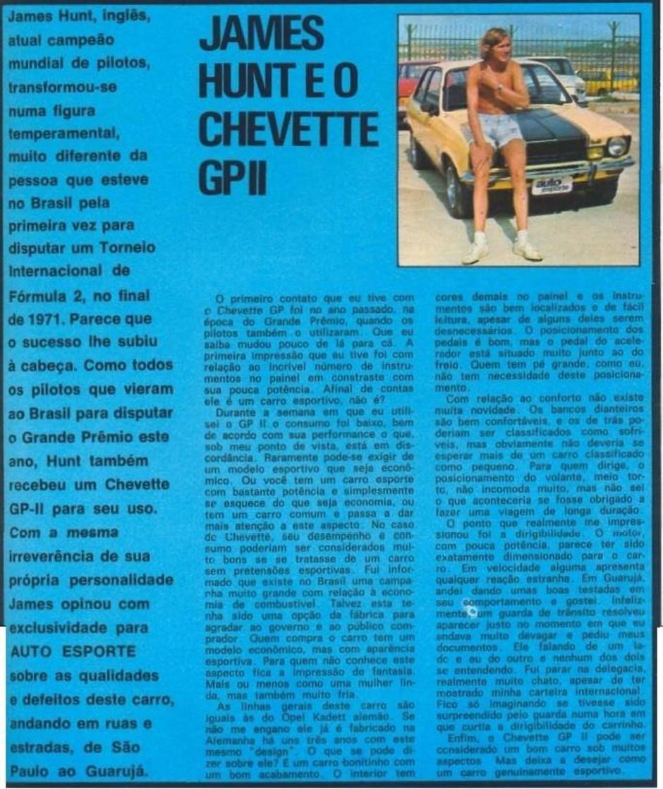 Página da Autoesporte de 1977 com a avaliação do Chevrolet Chevette GP2  (Foto: Autoesporte)