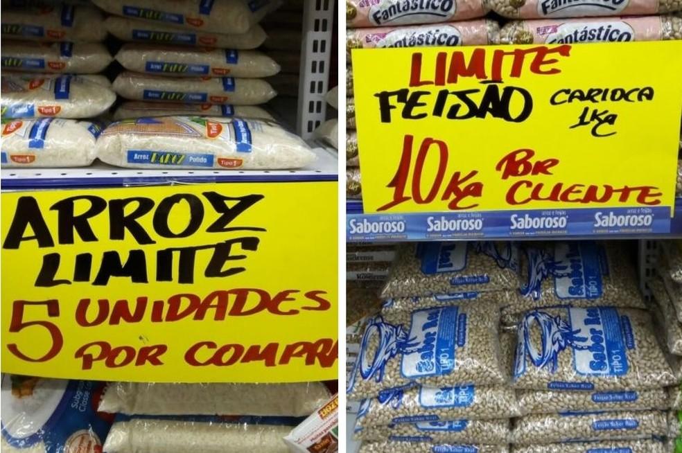 Supermercado permite apenas cinco unidades de arroz e dez de feijão (Foto: Divulgação)