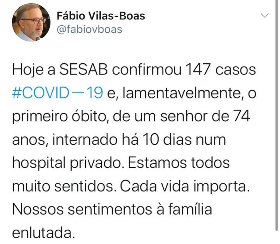 Secretário de Saúde da Bahia lamenta morte de idoso com coronavírus — Foto: Reprodução/Twitter