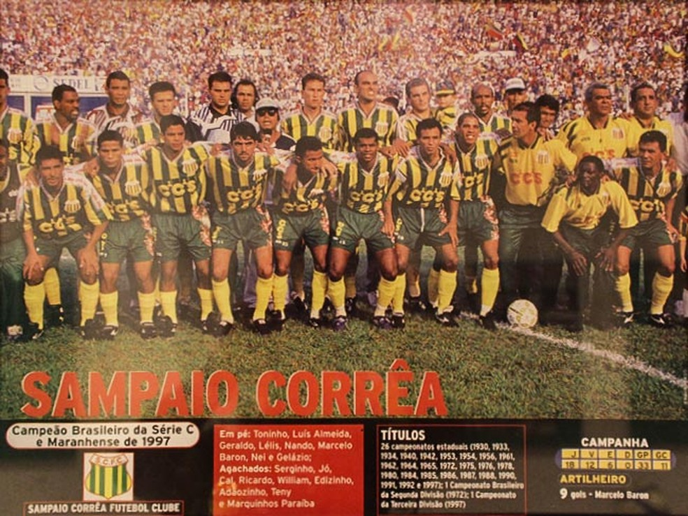 Sampaio foi campeão invicto da Série C de 1997 com Castelão lotado e novamente teve artilheiro — Foto: Sampaio / Divulgação